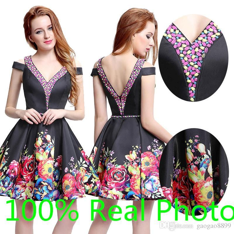 Real Photo 2017 Pattern Power Print Short Evening Formal Homecoming
