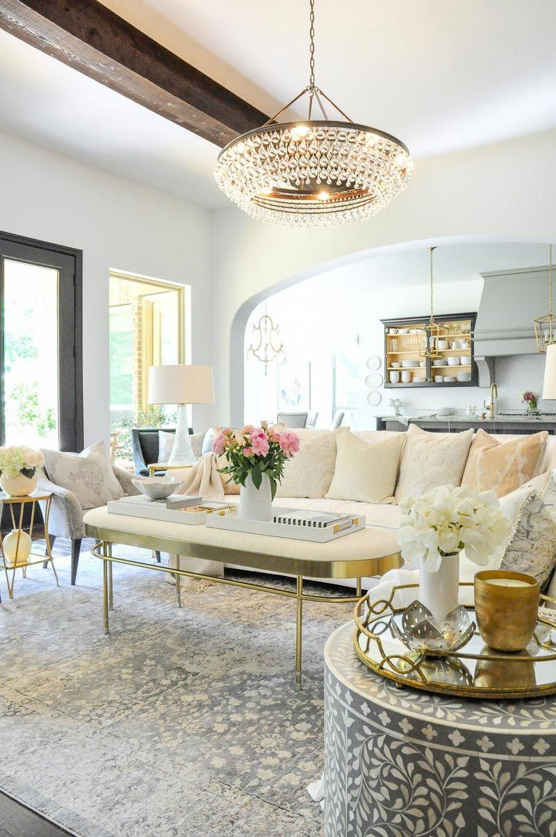 Beautiful White Gray Living Room Gold Accents Living