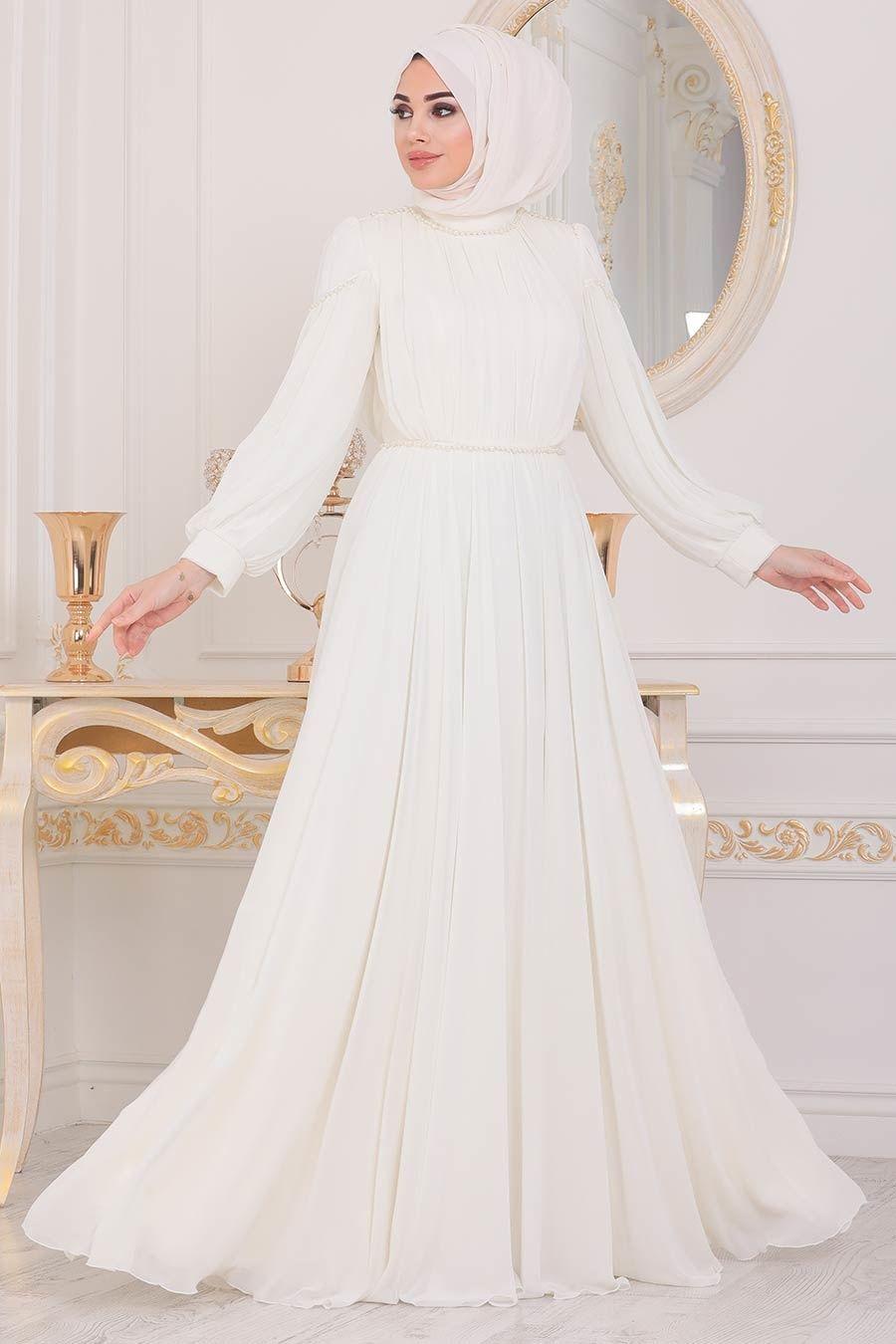 Tesetturlu Abiye Elbise Boncuk Detayli Ekru Tesettur Abiye Elbise 4071e Tesetturisland Com 2020 The Dress Elbise Aksamustu Giysileri