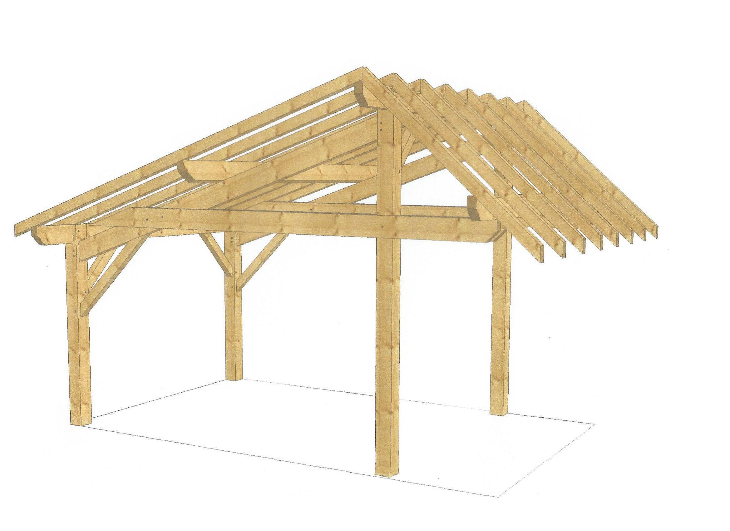 Abri faîtage désaxé Abri bois, Construire une pergola