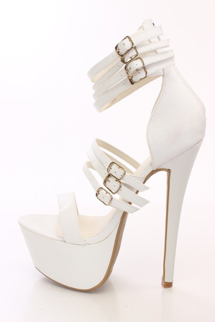 White Strappy Platform High Heels Faux Leather Zapatos Modernos 7865dc7d017f
