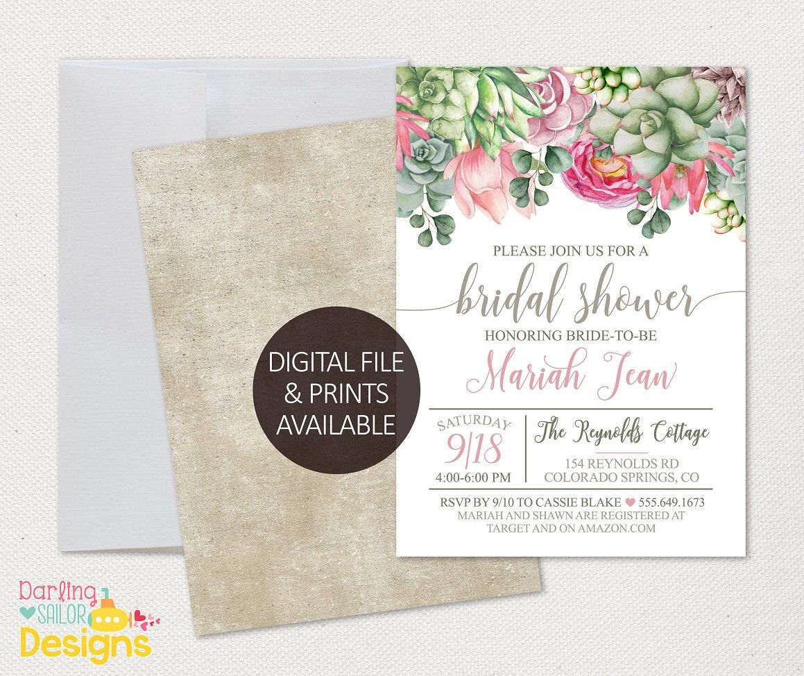 Boho Bridal Shower Invitation Digital Or Prints Available 5x7 Or