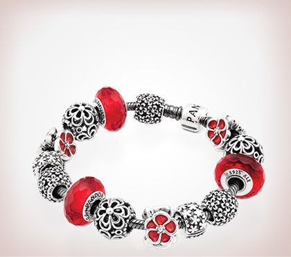Red And Silver Pandora Beads Charm Bracelet