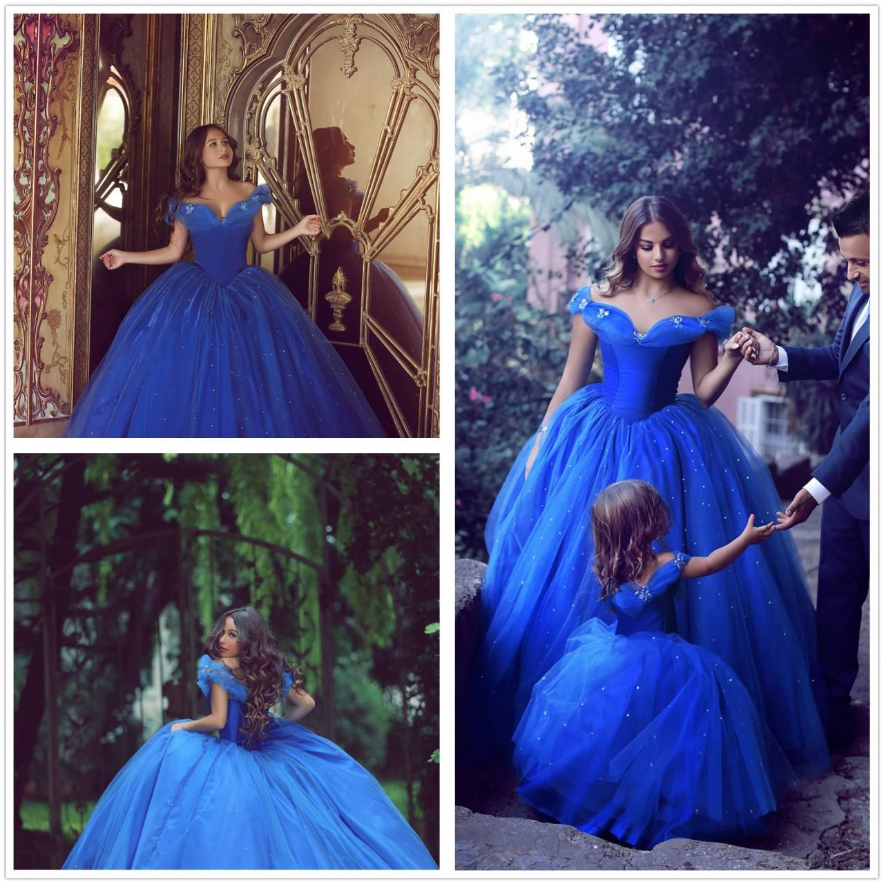 Princess ball gown blue off shoulder long prom dressesquinceanera