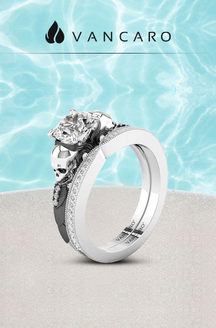 Classic Twotone Silver And Black Owl Skull Engagement Ring Set: Vancaro Wedding Bands Skulls At Websimilar.org