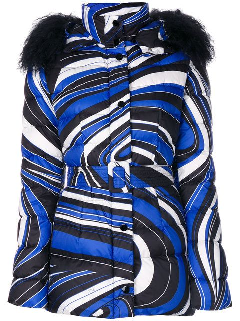Quilted Down Jacket With Shearling-Trimmed Hood, Blue   Emilio Pucci ... 688c3044ac