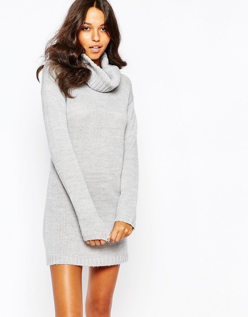 Boohoo Roll Neck Knitted Jumper Dress  81c6f1cec