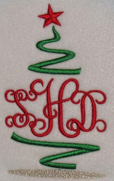 Christmas tree monogram embroidery design apex