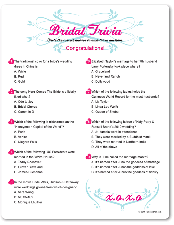 pixels bridal shower questions bridal shower question game png 612x792 wedding trivia