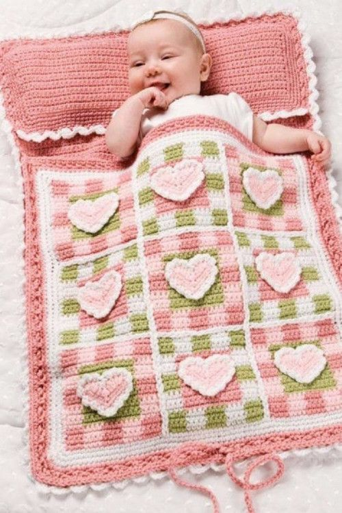 X099 Crochet PATTERN ONLY Hearts and Gingham Baby Nap Sack Pattern ...