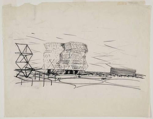 Louis I. Kahn. City Tower, project, Philadelphia, Pennsylvania, Perspective. 1952-53