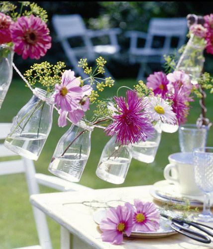 Girlande Binden dekorative vasen aus alltagsgegenständen selber machen blühende