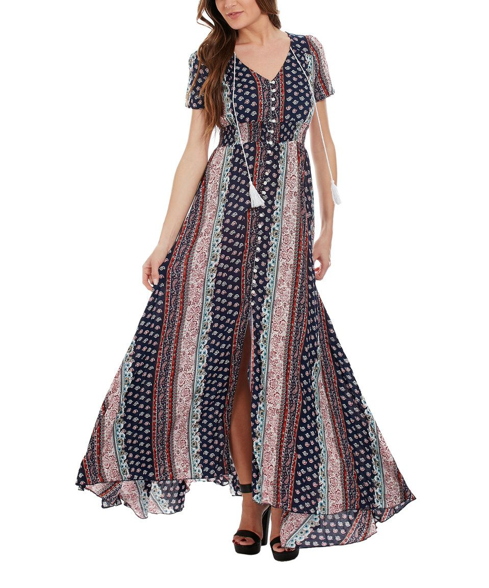 Loving this cicero fuchsia geometric peasant maxi dress on zulily