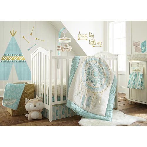 Levtex Baby Little Feather 5 Piece Crib Bedding Set Aqua