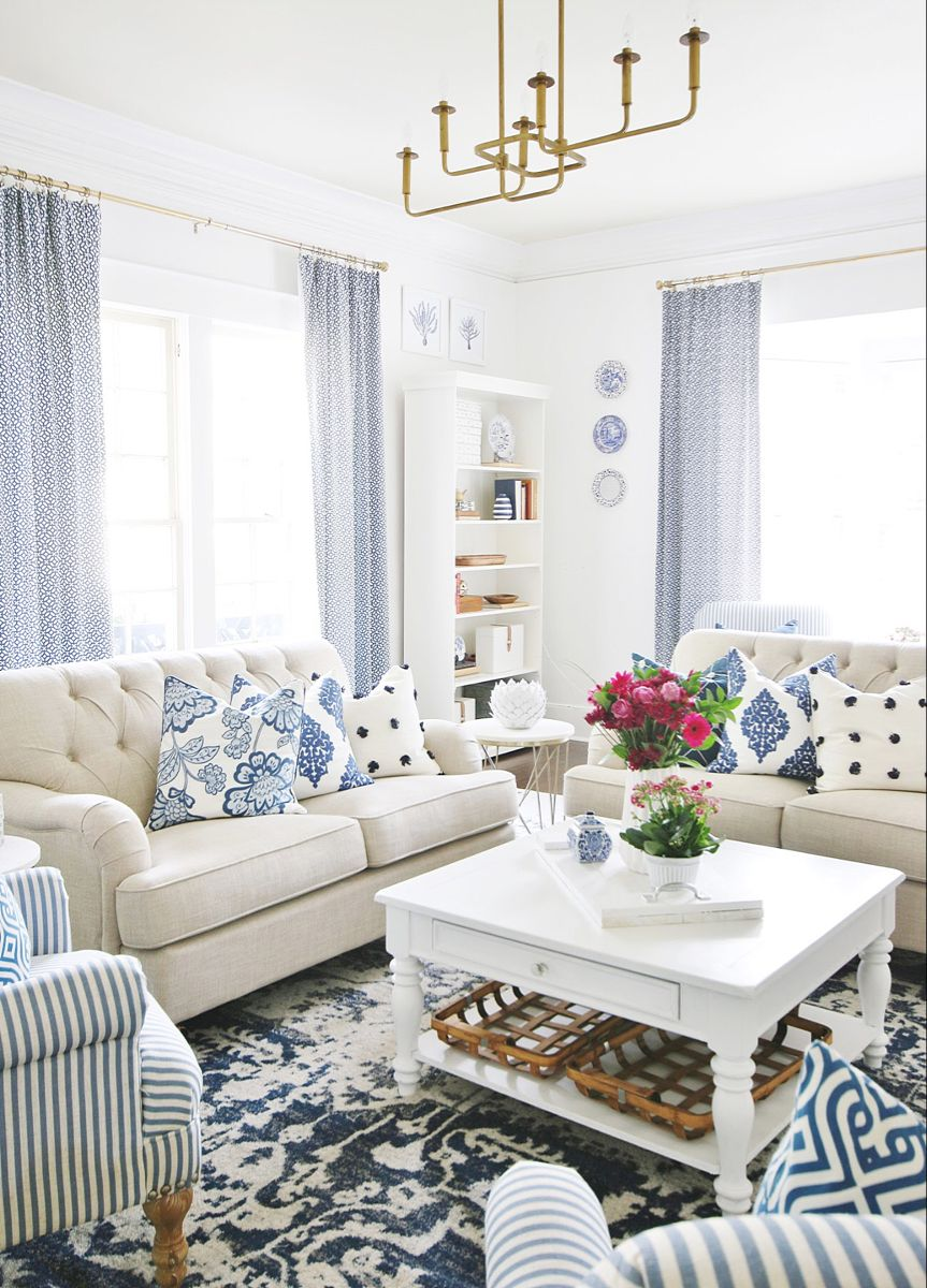How To Pick Paint Colors For An Entire House Thistlewood Farm Blue And White Living Room Home Living Room Coastal Living Rooms