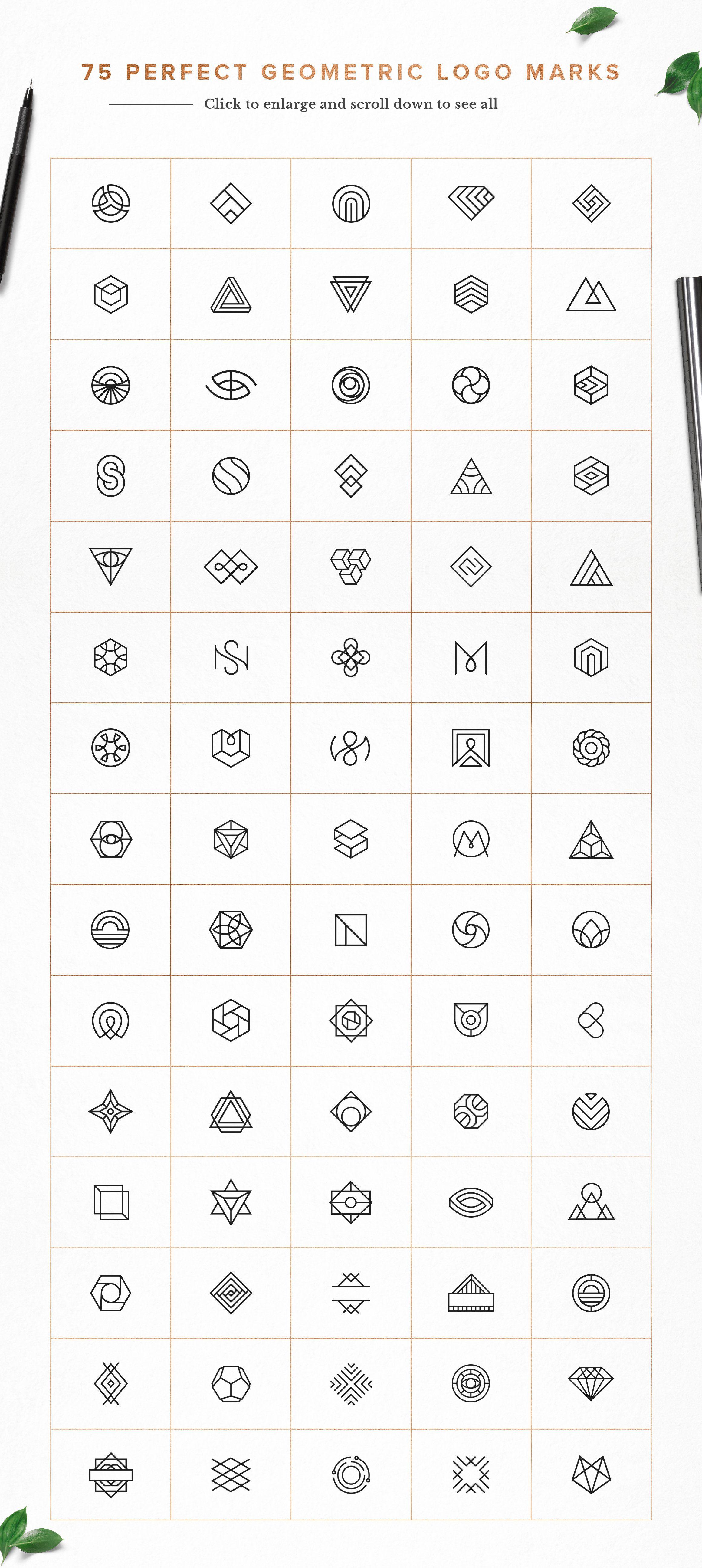 Photo of 75 Pacote de logotipo geométrico da família Spensers no mercado criativo