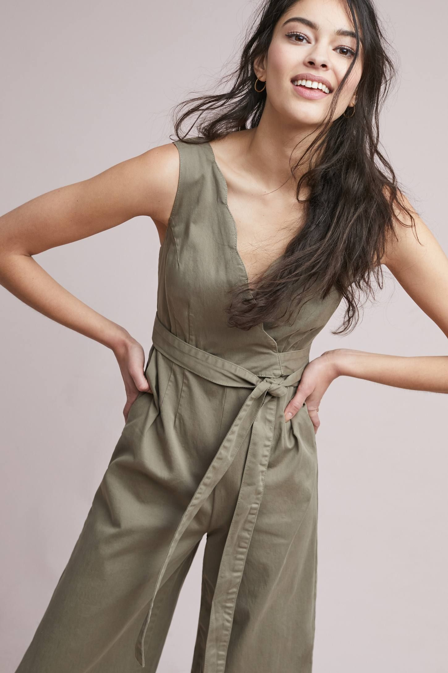 Scalloped Chino Jumpsuit (With images) Jumpsuit, Deep v