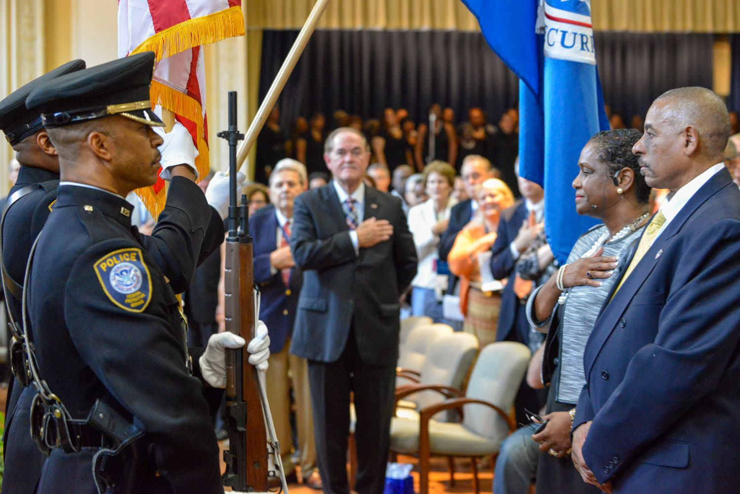 The presentation of the colors by dhss federal protective