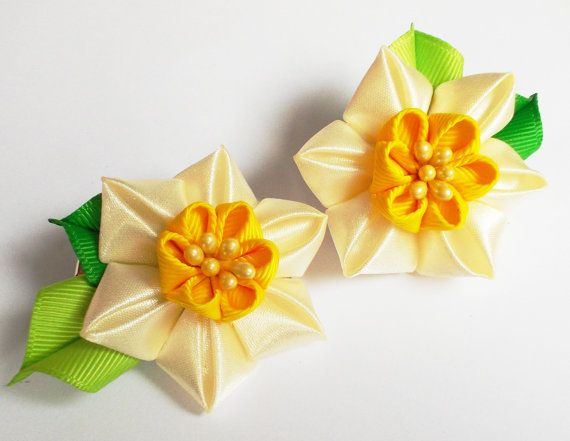 Daffodil fabric flower.Easter-Spring Kanzashi Girl Hair Accessories in Cream and Yellow.Set of Two