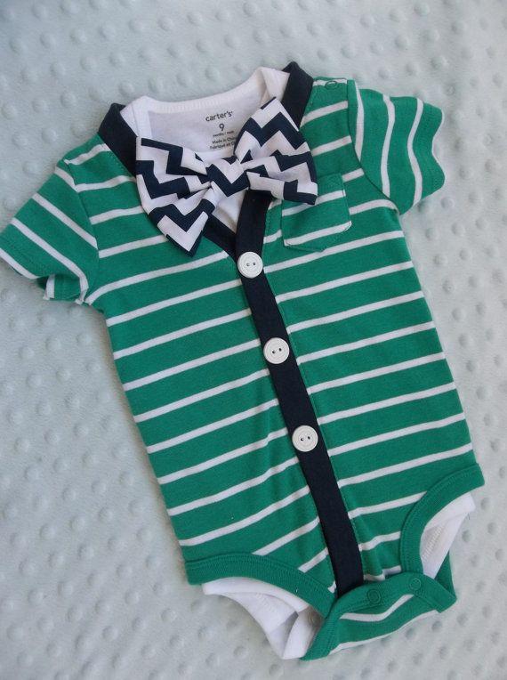 SALE Cardigan Onesie Chevron Bowtie  Preppy Baby by groovyapplique, $28.00