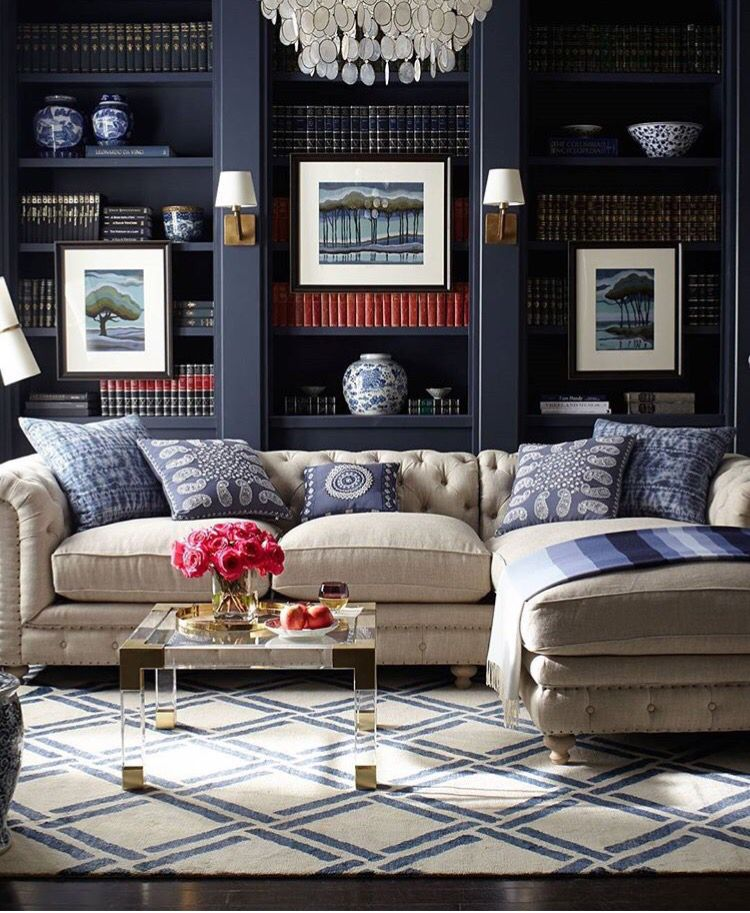 Classic Study Room Design: Dark Navy Book Shelves And Indigo Accents In Office/study