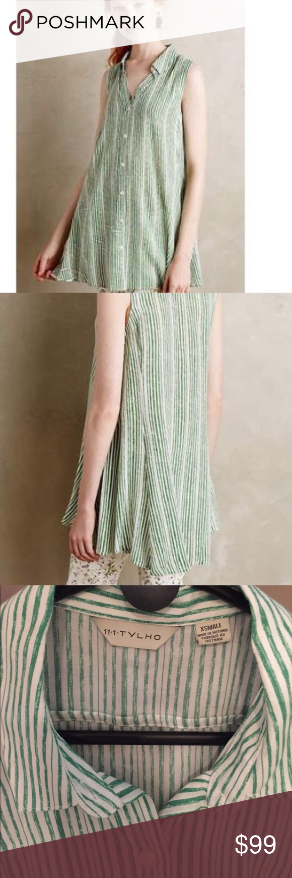 Green and white short dress   TYLHO XS Percy tunicdress  white wgreen  Anthropologie