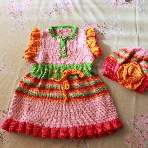 Beautiful Handknit Pink Sundress with Matching by AnnabelleKnits, $46.00