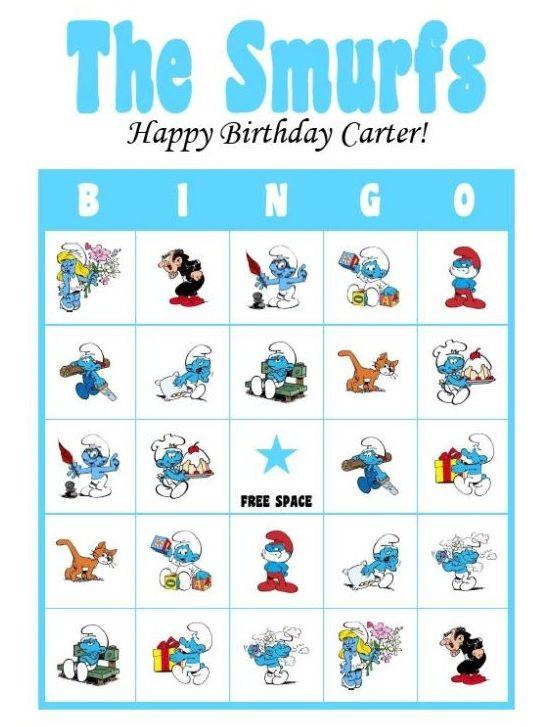 Smurfs Party Bingo Game Smurfs Birthday Party Smurfen Verjaardag