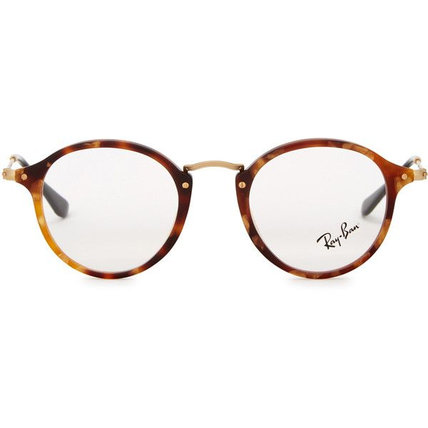 2db9ad1d0d Ray-Ban Tortoiseshell round-frame optical glasses (550 BRL) ❤ liked on Polyvore  featuring men s fashion