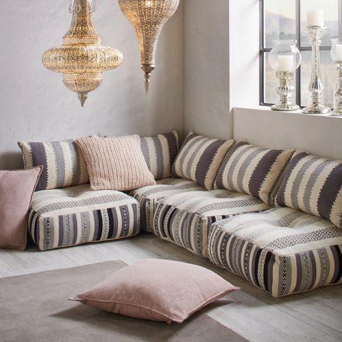 Sitzkissen im Streifendesign in Grau - flexibel und praktisch