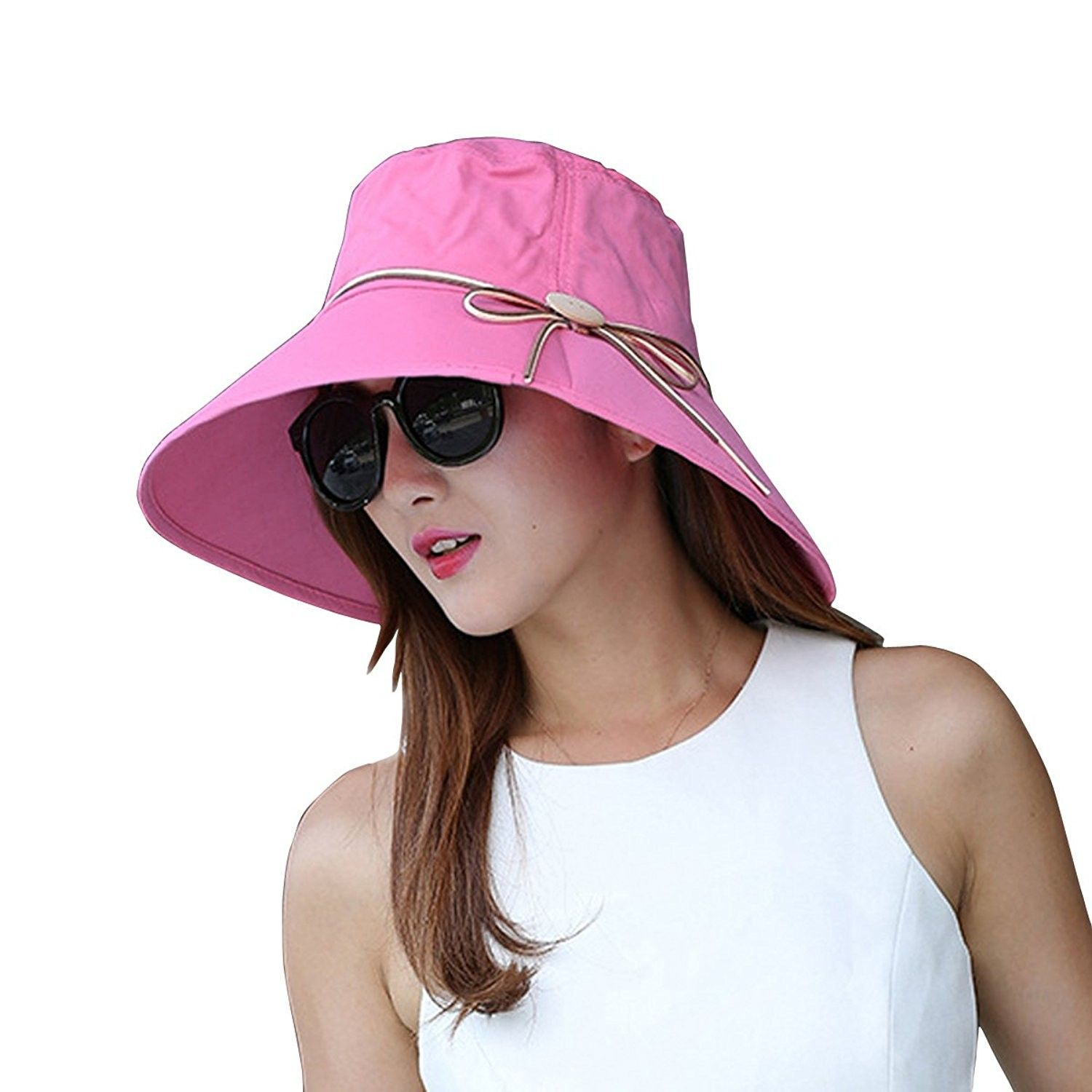 c55a5e23d Summer Wide Brim Sun Hats Foldable Beach Hat Visor Cloche UPF50+ UV ...