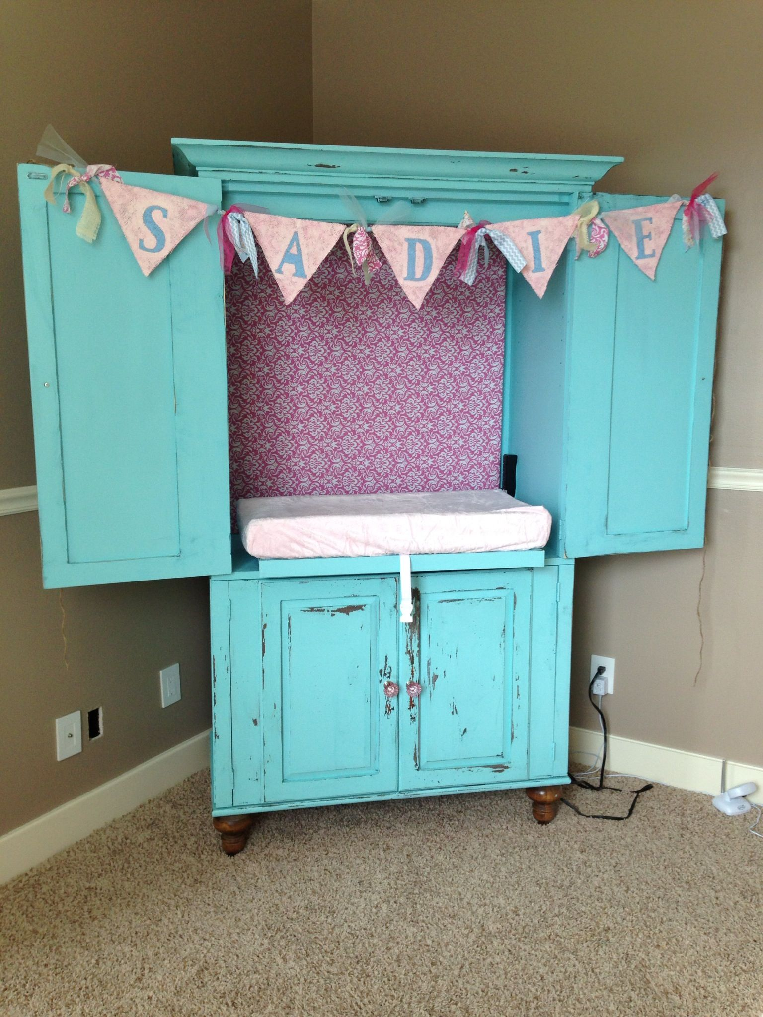 Armoire Turned Into Baby Changing Station. Distressed Painted Furniture.