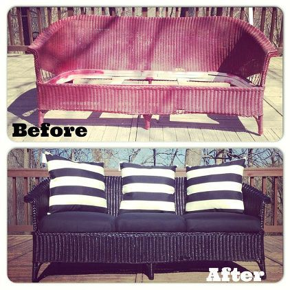Wicker Couch Before And After With Rust Oleum Via Jessica P