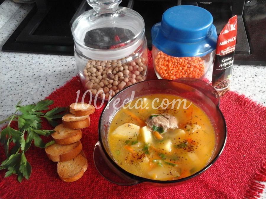 Суп с чечевицей, нутом и свининой | Нут, Гороховый суп и ...