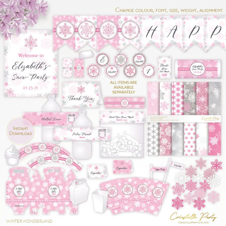 Winter Wonderland Pink And Silver Editable Party Decor Etsy Snowflake Printables Party Decorations Party Supplies