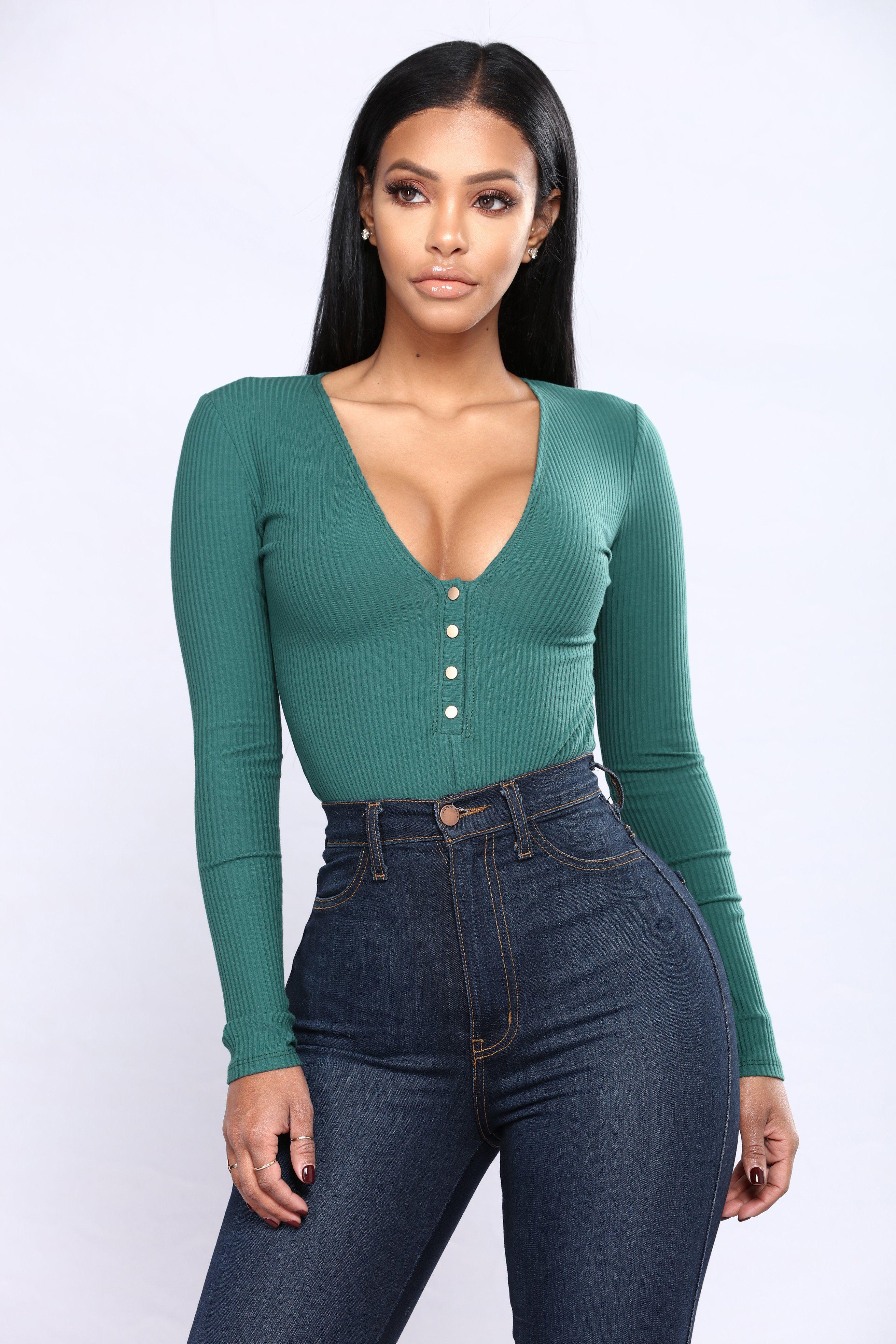 Carnaby Bodysuit Hunter Green Black women fashion