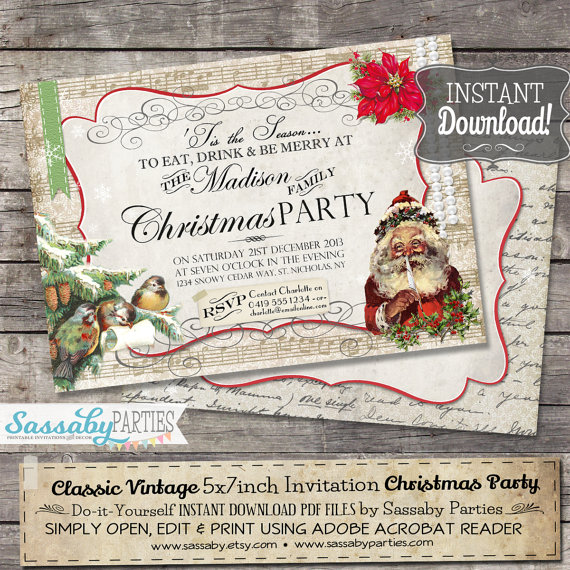 Classic Vintage Christmas Party Invitation - INSTANT DOWNLOAD