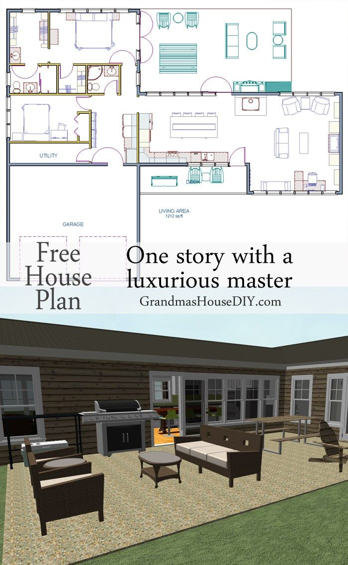 Luxury master bedroom floor plans  Free House Plan  with a great back deck and a deluxe master  Deck