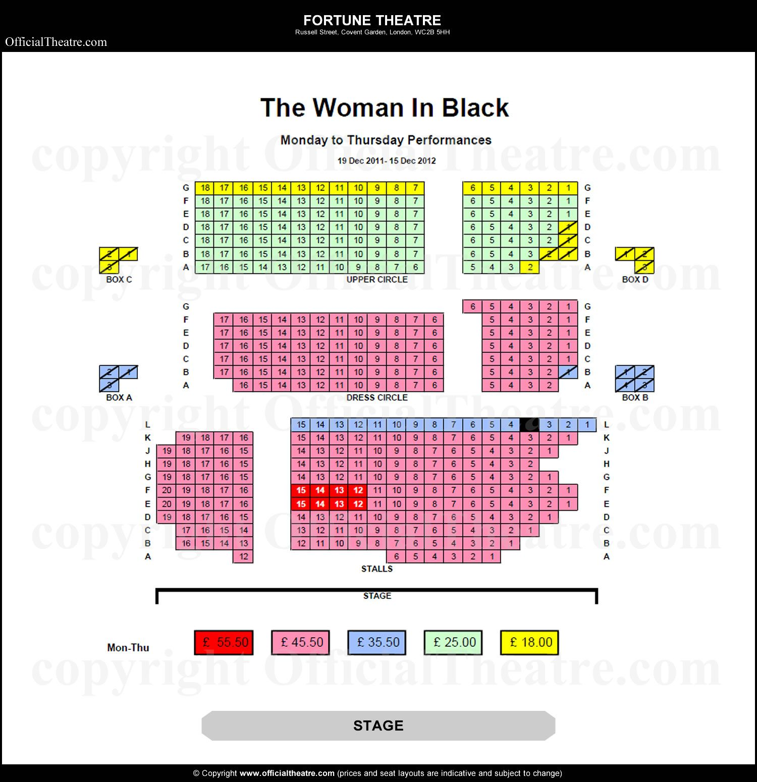 Fortune Theatre London Seat Map And Prices For The Woman In Black Fortune Theatre Seating Plan How To Plan