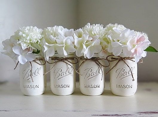 Baby Shower Decorations, Mason Jar Centerpieces, Rustic Home Decor, Painted Mason  Jars,