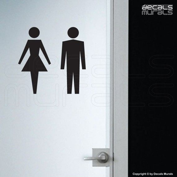 Bathroom Sign Male wall decals female male symbol stick figure stickers his and hers