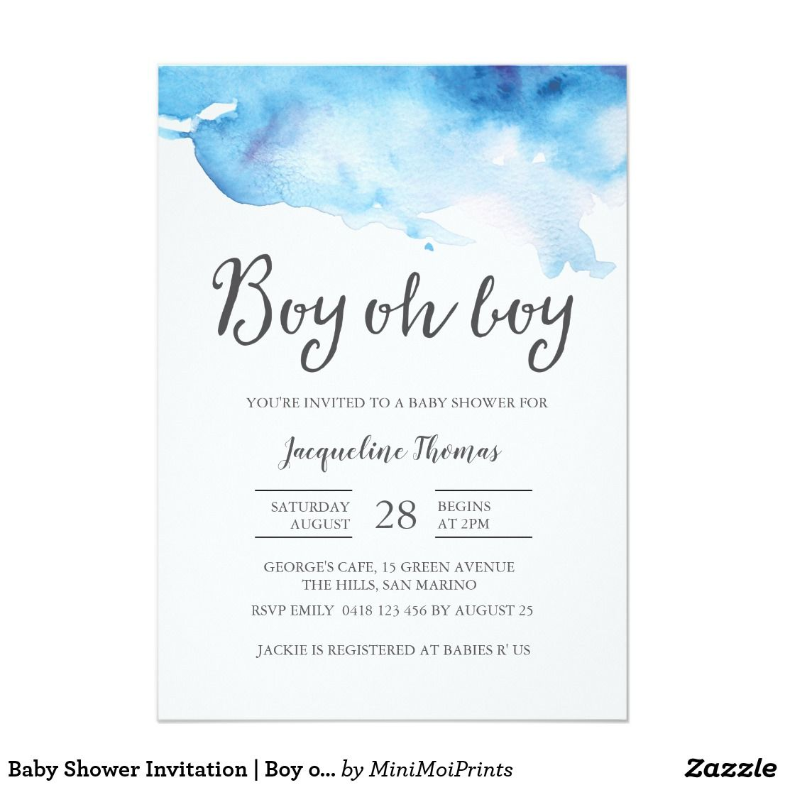 Baby Shower Invitation | Boy oh boy watercolour | Shower invitations ...