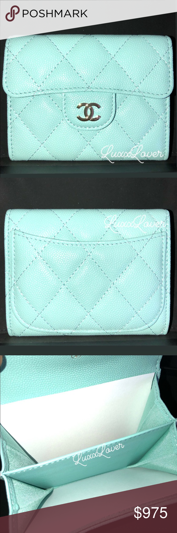 f9cb5fa182b1 Auth Chanel 19C Tiffany Blue XL card case GHW Auth Chanel 19C Tiffany Blue  XL card case in Caviar leather with GHW. Brand New with complete box set.