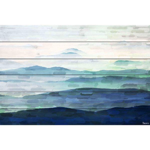 Parvez Taj 'Mountain Tops' Painting Print on White Wood