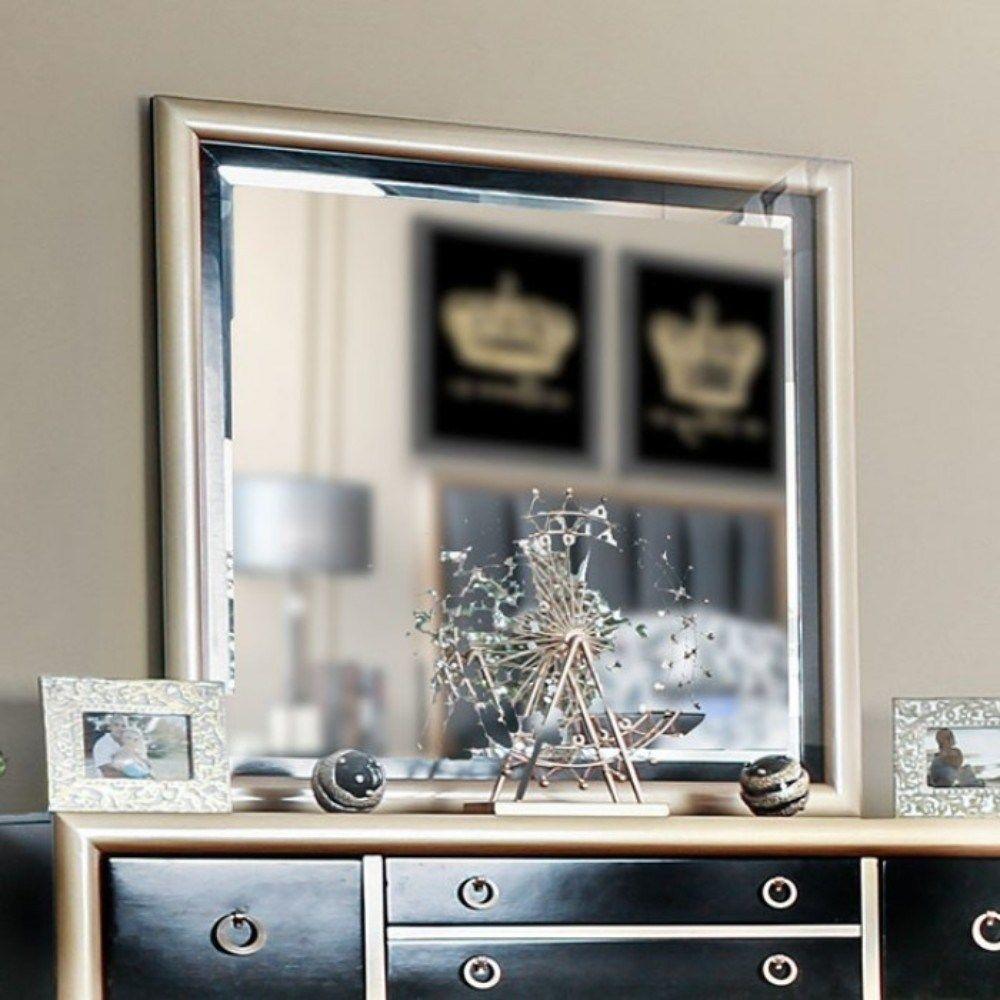 Wooden Beveled Mirror, Black & Gold, Benzara