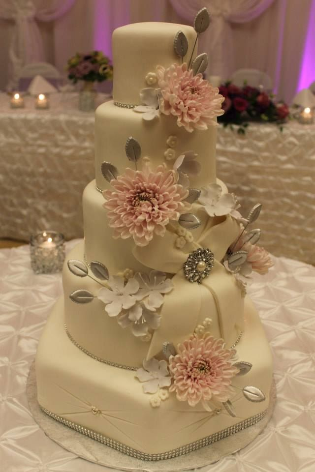 Elegant Soft Pink And Silver Wedding Cake Wedding Cake Party Event Idea