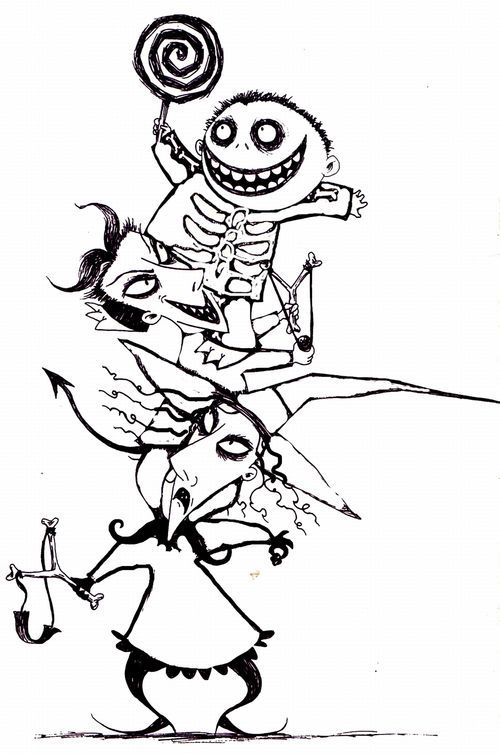 Nightmare Before Christmas Coloring Pages Kids Large
