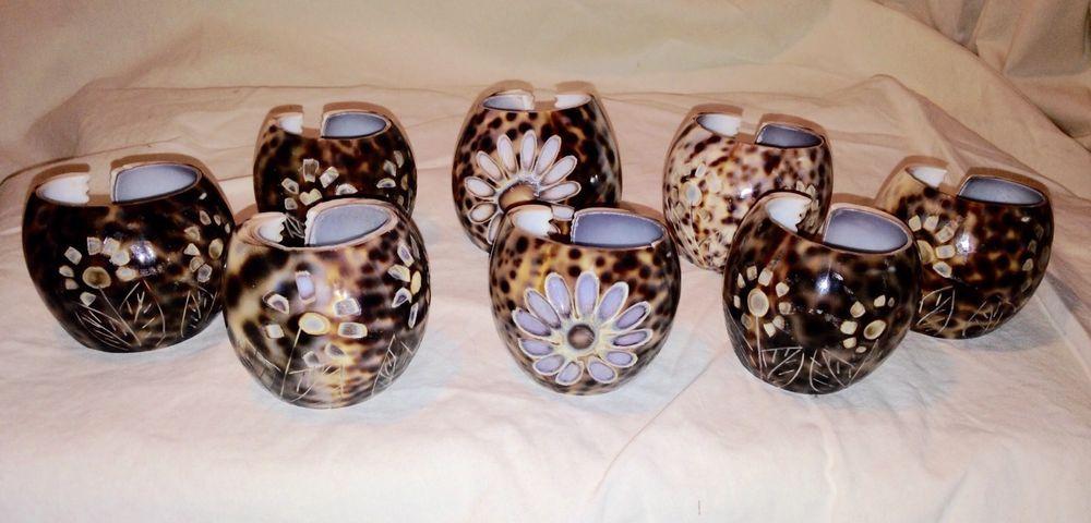VTG Cowrie Sea Shell Napkin Holders Carved Flowers Nautical Ocean Kitchen Decor
