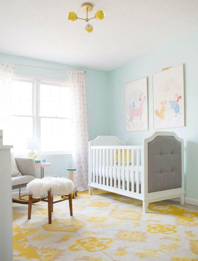 Dormitorio en azul y amarillo para niña | Amarillo, Dormitorio y ...