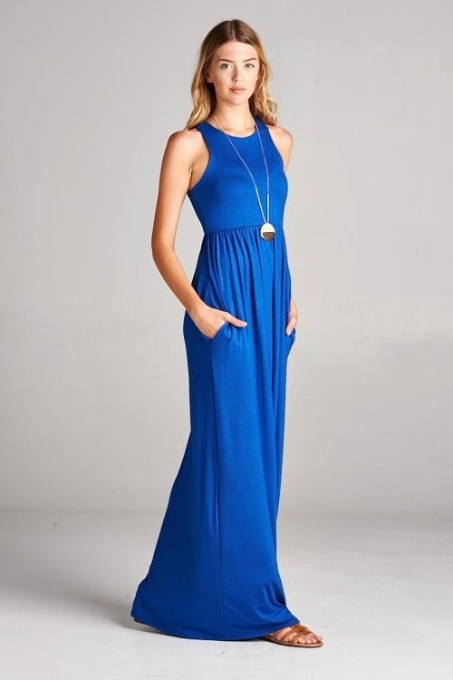 Gorgeous Summer Maxi Dress in Royal Blue. Racerback style